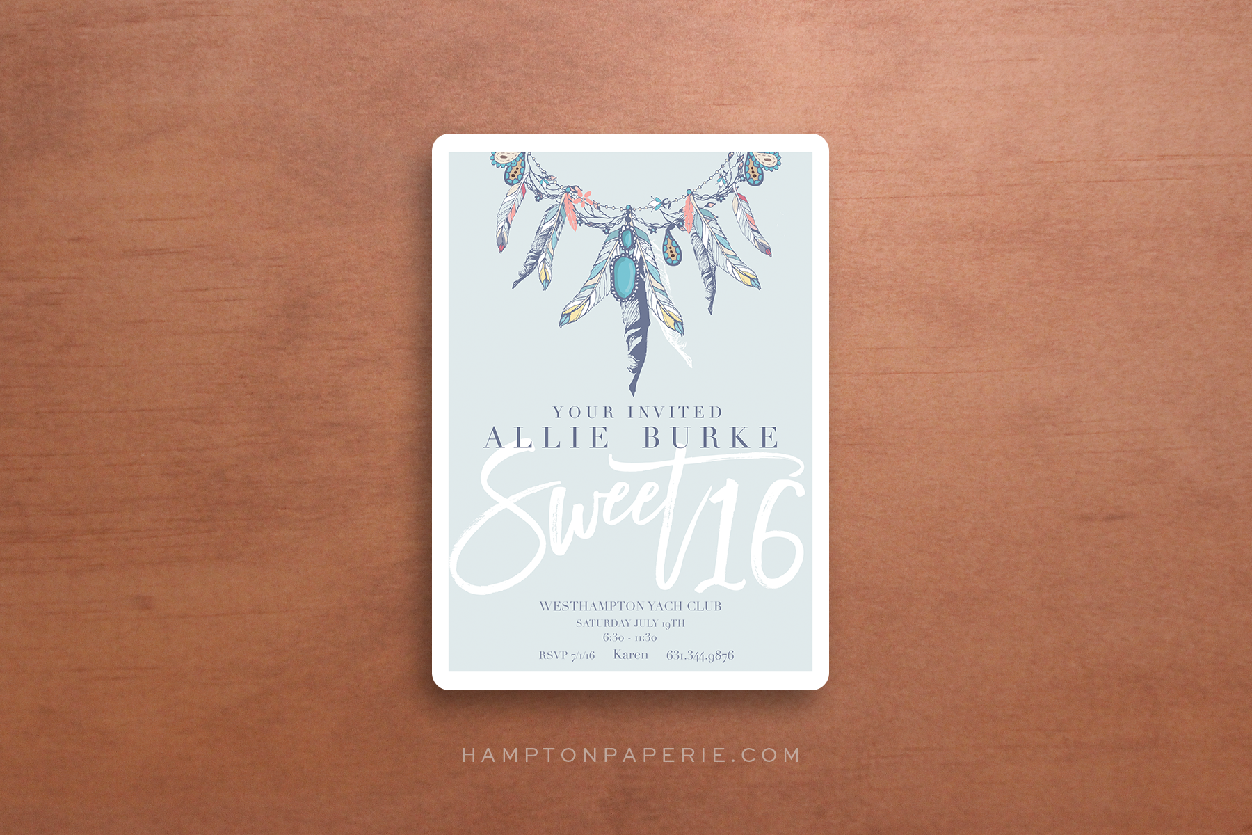 HAMPTON PAPERIE – Sweet 16 Invitation Card